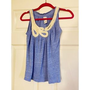 Anthropologie C. Keer Blue Rope Scoop-neck Tank